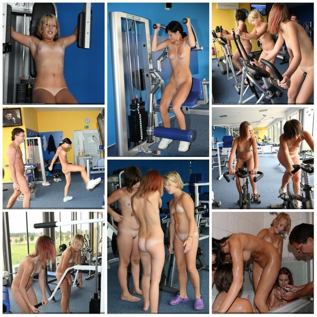 Young naked girl in the gym - nudism photo