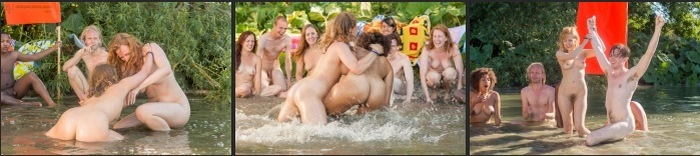 German group of guys and girls nudists in nature - beautiful photos and HD videos